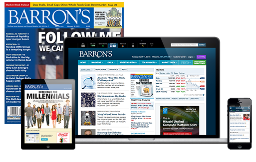 Barrons Magazine and Barrons Online $1 per week! Choose 12 or 26 Weeks!